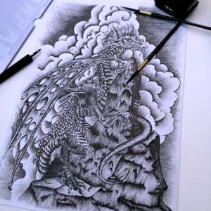 Az európai sárkány , Otthon & lakás, Képzőművészet, Dekoráció, Festészet, Európai sárkány tollrajz. Ernest Drake könyv ihlette. Kiválóan repülő, főleg hegyvidéken élő, többny..., Meska