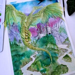 Az erdő őre akvarell festmény, Akvarell, Festmény, Művészet, Festészet, Az erő Őre és a vár védelmezője, a jóságos, mesebeli, bölcs zöld sárkány. Egyaránt vigyáz az erdeibe..., Meska