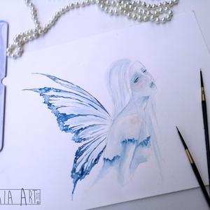 A tél akvarell festmény , Akvarell, Festmény, Művészet, Festészet, A tél tündére, a maga egyszerűségével és hideg szépségével.. A téltündér akár a tél, fagyos, hideg, ..., Meska