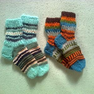pamut gyerekzoknik, Zokni, Cipő & Papucs, Ruha & Divat, Kötés, 5-9 éves gyerekeknek készült pamut, mintás kézzel kötött zoknik. Az ár 1 db-ra vonatkozik., Meska
