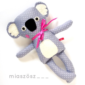 Móz, csíkos harisnyás koala - szürke, antracit, rózsaszín, fehér (miaszoszmuhely) - Meska.hu