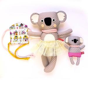 Mama és Lala, hordozós koala picinyével, meitaiban - szürke, fehér, rózsaszín, sárga (miaszoszmuhely) - Meska.hu