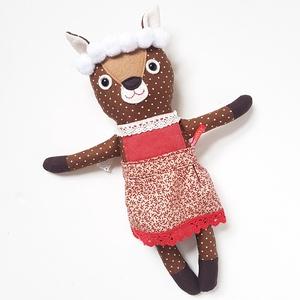 Öltöztethető karácsonyi őzleányzó, Játék & Gyerek, Plüssállat & Játékfigura, Kiváló minőségű pamut anyagokból varrtam ezt a jókedvű őz leányt, saját dizájn alapján. A rátéteket ..., Meska