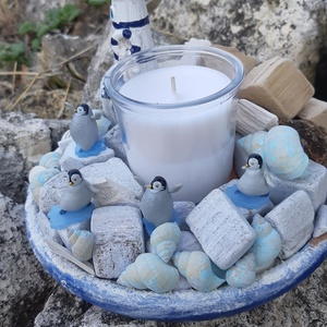 Pingvin party, Dekoráció, Otthon, lakberendezés, Asztaldísz, Mindenmás, Ezt a kedves pingvines asztalt díszt a nyári hőség ihlette. Annyira vágytam már a hideg, jeges fuva..., Meska