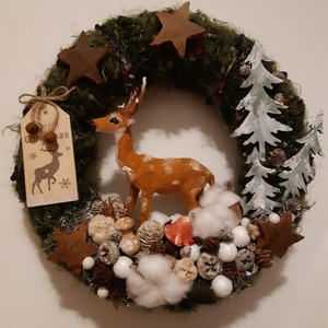 Téli erdő karácsonyi ajtódísz, Karácsony, Ünnepi dekoráció, Dekoráció, Otthon & lakás, Karácsonyi dekoráció, Lakberendezés, Koszorú, Mindenmás, A tél hangulatát idéző ajtódísz mérete 27 cm.\nA téli havas hsngulatot s gyapotvirág és a festett, hó..., Meska