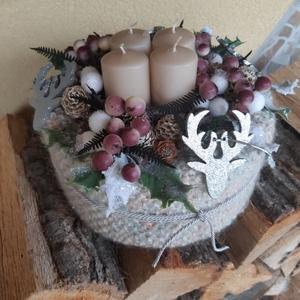 Lágybogyós adventi, Karácsony & Mikulás, Adventi koszorú, Kötés, Kézzel kötött erős papírhengerre dolgozott adventi lakásdísz.\n\n, Meska