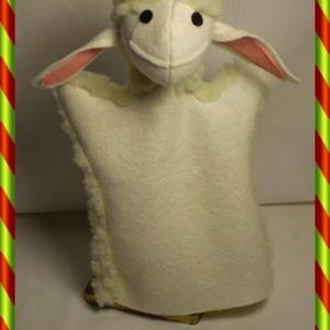 Bárány kézbáb, Gyerek & játék, Játék, Báb, Készségfejlesztő játék, Baba-és bábkészítés, Varrás, A bárányka is kedves mesefigura.\nAnyaga fehér filc és fehér műszőrme.\nFeje kerek. Fríz vattával tömö..., Meska