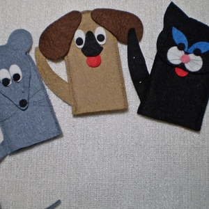 Kutya, macska, egér barátság., Báb készlet, Bábok, Játék & Gyerek, Baba-és bábkészítés, Varrás, Kutya, macska, egér barátság.\nAz ujjbábok, nem csak óvódás korú gyermekek játéka. Egész meséket lehe..., Meska