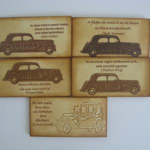 Hűtőmágnes -Útraindulóknak, utazóknak, autósoknak - céges rendezvényekre, találkozókra, csoportajándék, a mindennapokra, Hűtőmágnes, Konyhafelszerelés, Otthon & Lakás, Papírművészet, Lemezkartonból és 220 gr-os kartonból tintázással készült hűtőmágnes idézettel.\nA mágneseket elkészí..., Meska