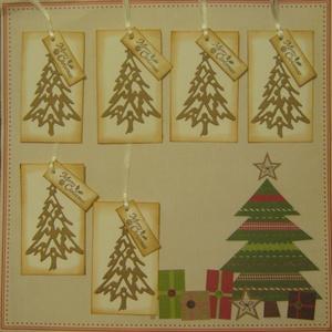 Tintázott - Merry Christmas feliratú - kraft áttörtmintás fenyőfás ajándékkísérő, Naptár, képeslap, album, Otthon & lakás, Karácsonyi, adventi apróságok, Ünnepi dekoráció, Dekoráció, Ajándékkísérő, Ajándékkísérő, Papírművészet, A szeretteid, barátaid részére szeretettel kiválasztott ajándékod kísérőjének választhatod a kraft é..., Meska