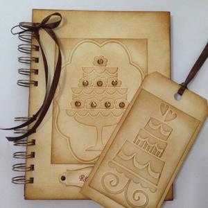 Cukrászoknak - Receptkönyv könyvjelzővel - különleges, egyedi receptek  - tortakedvelők - születésnap, Naptár, képeslap, album, Otthon & lakás, Konyhafelszerelés, Receptfüzet, Papírművészet, A különleges, egyedi receptjeidet gyűjtheted össze a receptkönyvben, melyben az elkészült sütemények..., Meska