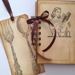 Receptkönyv könyvjelzővel -  cukrásztanulóknak emlékajándék-lánybúcsúra receptötletek- versenyekre - süteménykedvelőknek, Otthon & lakás, Naptár, képeslap, album, Konyhafelszerelés, Receptfüzet, Papírművészet, (Nézz körül Igenigen boltomban is.)\n\nMindenki számára nagy érték (egy kedves ajándék) lehet egy olya..., Meska