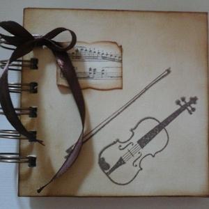 Album - hegedű - emlékmegőrző - zeneiskolásoknak - csoportajándék -  rendezvényajándék -  zenekedvelőnek , Album & Fotóalbum, Papír írószer, Otthon & Lakás, Papírművészet, Zenekedvelő barátodnak, zene(ének)tanárodnak adhatod ajándékba az albumot, melybe kedves gondolatok ..., Meska