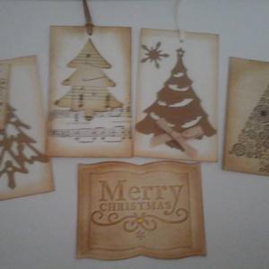 Tintázott karácsonyi ajándékkártya fenyőfával - felirattal (Milevi) - Meska.hu