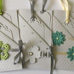 Zsebes egyedi pénzátadó lap - ajándékkísérőkke - esküvő - családi ünnep - csoportajándék 2, Naptár, képeslap, album, Otthon & lakás, Képeslap, levélpapír, Ajándékkísérő, Papírművészet, (Ha egy darabot szeretnél kérni, kérlek belső üzenetben jelezd.)\n3 zsebrésszel készült vintage fehér..., Meska