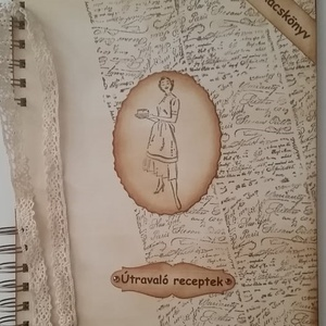 Szakácskönyv - családi,  régóta őrzött receptek - bélyegzőmintával - esküvő - lánybúcsú - örök emlék - egyedi termék, Otthon & Lakás, Konyhafelszerelés, Receptfüzet, Papírművészet, Meska