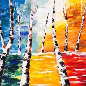Nyírfák akril festmény, Képzőművészet, Otthon & lakás, Festmény, Akril, Lakberendezés, Festészet, Imádom a nyírfákat, mindig nagy örömmel festem őket :) \nVászon keretre feszítve, akrillal festve veg..., Meska