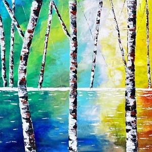 Nyírfák, Otthon & lakás, Képzőművészet, Festmény, Akril, Festészet, 140 x 70 cm-es egyedi akril festmény.\nMinőségi feszített művészvászonra készült., Meska