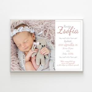 Babaköszöntő, baba születési poszter, falikép, Kép & Falikép, Dekoráció, Otthon & Lakás, Fotó, grafika, rajz, illusztráció, Fényképes, névre szóló baba születési poszter, mely nagyszerű ajándék lehet - akár baba látogatóba i..., Meska