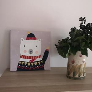 mackó hóesésben, akril festmény (Mimialma) - Meska.hu