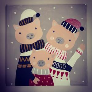 Hármas malaccsalád, Gyerek & játék, Gyerekszoba, Baba falikép, Otthon & lakás, Dekoráció, Kép, Képzőművészet, Festmény, Akril, Festészet, A 24*24-es feszített vászonra akril festékkel készült kép. \nKérésre bármilyen családot elkészítek ma..., Meska