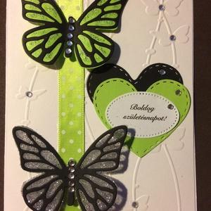 Születésnapi képeslap 1. pillangó, Képeslap & Levélpapír, Papír írószer, Otthon & Lakás, Mindenmás, Papírművészet, Scrapbook és punchart technikával készült kinyitható születésnapi üdvözlőlap borítékkal.\n Mérete 11...., Meska