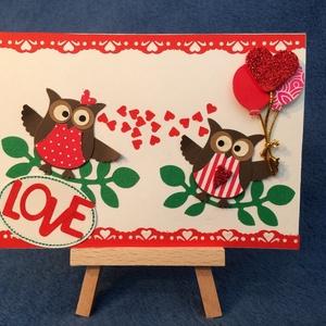 Szerelmes képeslap,  bagoly, Valentin nap, szerelem, szív (Mimizuku) - Meska.hu