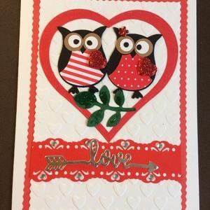 Szerelmes, Valentin napi  képeslap, bagoly, szív , Képeslap & Levélpapír, Papír írószer, Otthon & Lakás, Mindenmás, Papírművészet, Vegyes(kivágásos, domborításos) technikával készítettem ezt a  kinyitható szerelmes üdvözlőlapot. Bo..., Meska