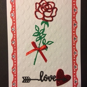 Szerelmes, Valentin napi képeslap 7. rózsa, szív, Valentin nap, Egyéb, Naptár, képeslap, album, Otthon & lakás, Képeslap, levélpapír, Szerelmeseknek, Ünnepi dekoráció, Dekoráció, Mindenmás, Papírművészet, Kivágással és domborítással  készítettem ezt a kinyitható Valentin napi üdvözlőlapot. Borítékkal ado..., Meska