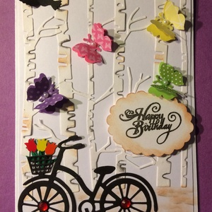 Születésnapi képeslap 3., üdvözlet, üdvözlőlap, bicikli, pillangó, Egyéb, Naptár, képeslap, album, Otthon & lakás, Képeslap, levélpapír, Mindenmás, Papírművészet, Scrapbook technikával készült egyedi születésnapi üdvözlőkártya. 10cm x15cm, kinyitható, saját szöve..., Meska