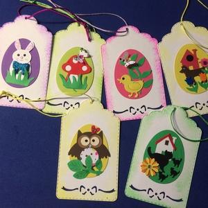 Húsvéti ajándékkísérő nyuszi, bagoly, cica, kacsa, kutya, gomba , Egyéb, Naptár, képeslap, album, Otthon & lakás, Ajándékkísérő, Húsvéti díszek, Ünnepi dekoráció, Dekoráció, Mindenmás, Papírművészet, Húsvéti ajándékkísérő kártyák, melyek formalyukasztásos technikával készültek. A kártyákon levő tojá..., Meska