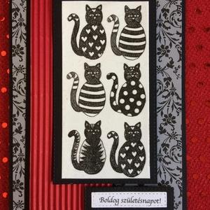 Születésnapi képeslap, üdvözlőkártya, cica, Képeslap & Levélpapír, Papír írószer, Otthon & Lakás, Papírművészet, Mindenmás, Vegyes technikával (szalvéta, scrapbook) készült cicás szülinapi üdvözlőlap.Mérete: 15X11cm. Kinyith..., Meska
