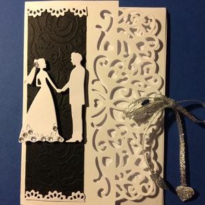 Esküvői képeslap 3D, Képeslap & Levélpapír, Papír írószer, Otthon & Lakás, Mindenmás, Papírművészet, Scrapbook és punchart technikával készítettem az esküvői lapot. Ezüst szalaggal összeköthető. Belül ..., Meska