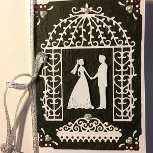 Esküvői képeslap 2, 3D házasságkötés, wedding , Képeslap & Levélpapír, Papír írószer, Otthon & Lakás, Mindenmás, Papírművészet, Scrapbook és punchart technikával készítettem ezt az esküvői képeslapot. Kinyitható, a belső lap ezü..., Meska