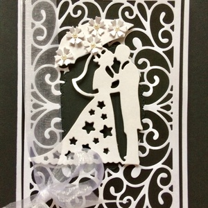 Esküvői képeslap 3D, Képeslap & Levélpapír, Papír írószer, Otthon & Lakás, Mindenmás, Papírművészet, Scrapbook és lyukasztásos technikával készült esküvői képeslap. Kinyitható, saját jókívánság írható ..., Meska