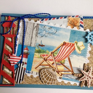 Tengerparti nyaralás képeslap, nyár, szünidő, vakáció, nyáridézés, nyári emlékek, tenger, tengerpart,strand, Naptár, képeslap, album, Otthon & lakás, Képeslap, levélpapír, Dekoráció, Kép, Papírművészet, Mindenmás, Nyári hangulatot idéző képeslapot készítettem, hiszen itt a vakáció. Bármilyen alkalomra adható, szü..., Meska