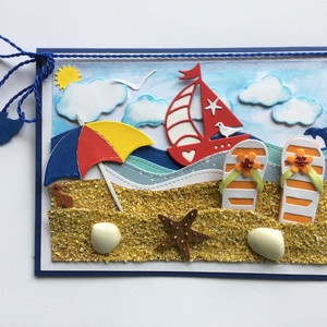 Tengerparti nyaralás képeslap, nyár, vakáció, tenger, nyaralás,nyári emlék, nyáridéző,strand, fürdés, Naptár, képeslap, album, Otthon & lakás, Képeslap, levélpapír, Dekoráció, Kép, Mindenmás, Papírművészet, Most, hogy itt a nyár a vakáció , ennek hangulatát szeretném visszaadni a frissen készített képeslap..., Meska