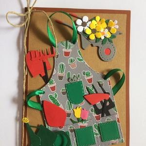 Kertész leszek! Képeslap kertimádóknak. Kert, virág, tavasz, nyár, kikelet, kötény, szerszám, kertész, Képeslap & Levélpapír, Papír írószer, Otthon & Lakás, Papírművészet, Képeslap kertimádóknak. Teljesen egyedi kézzel készült lap, melyet bárki megkaphat, aki csak egy kic..., Meska