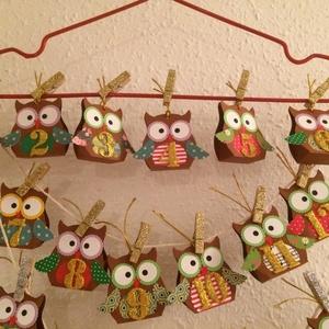 Adventi naptár bagoly 24db, Advent, Karácsony, Adventi naptár, Karácsony & Mikulás, Otthon & Lakás, Papírművészet, 24 db kicsi baglyot készítettem Adventre. Apró csokikat, cukorkákat, egyéb kis meglepetéseket, üzene..., Meska