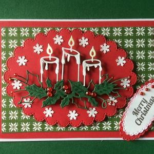 Karácsonyi képeslap, gyertya, magyal, ajándékkísérő, Advent, Karácsony, Mikulás, üdvözlőlap, pénzátadó, Karácsonyi képeslap, Karácsony & Mikulás, Otthon & Lakás, Papírművészet, Mindenmás, Fogadjátok szeretettel egyedi kézzel készített karácsonyi képeslapomat !\nVegyes technikával készítet..., Meska