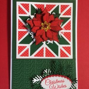 Karácsonyi képeslap, mikulásvirág, ajándékkísérő, Advent, Karácsony, Mikulás, üdvözlőlap, pénzátadó, Karácsonyi képeslap, Karácsony & Mikulás, Otthon & Lakás, Papírművészet, Mindenmás, Fogadjátok szeretettel egyedi kézzel készített karácsonyi képeslapomat !\nVegyes technikával készítet..., Meska