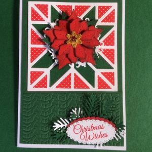 Karácsonyi képeslap, mikulásvirág, ajándékkísérő, Advent, Karácsony, Mikulás, üdvözlőlap, pénzátadó - otthon & lakás - papír írószer - képeslap & levélpapír - Meska.hu