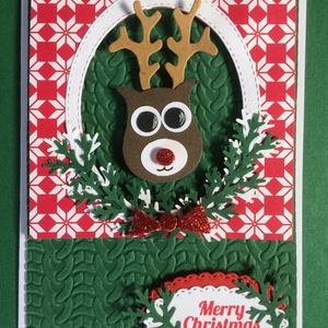 Karácsonyi képeslap, Rudolf, rénszarvas, ajándékkísérő, Advent, Karácsony, Mikulás, Karácsonyi képeslap, Karácsony & Mikulás, Otthon & Lakás, Papírművészet, Mindenmás, Fogadjátok szeretettel egyedi kézzel készített karácsonyi képeslapomat !\nVegyes technikával készítet..., Meska