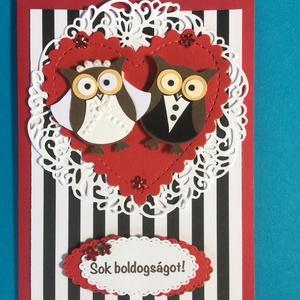 Bagoly esküvői képeslap, üdvözlőlap, ajándékkísérő és pénzátadó, lakodalom , Képeslap & Levélpapír, Papír írószer, Otthon & Lakás, Papírművészet, Mindenmás, Egyedi baglyos esküvői képeslap és pénzátadó egyben. A belsejében kivehető kártya, melynek hátuljára..., Meska