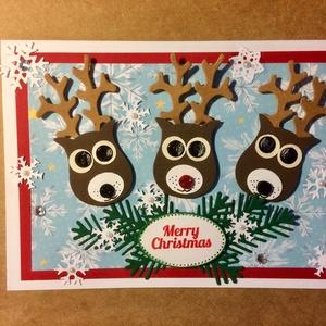 Karácsonyi képeslap, 3 rénszarvas, Rudolf, ajándékkísérő, Advent, Karácsony, Mikulás, pénzátadó, Karácsonyi képeslap, Karácsony & Mikulás, Otthon & Lakás, Papírművészet, Mindenmás, Fogadjátok szeretettel egyedi kézzel készített karácsonyi képeslapomat!\nLyukasztásos technikával kés..., Meska