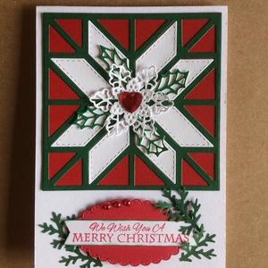 Karácsonyi képeslap, hópehely, magyal, ajándékkísérő, Advent, Mikulás,pénzátadó, Karácsonyi képeslap, Karácsony & Mikulás, Otthon & Lakás, Papírművészet, Mindenmás, Fogadjátok szeretettel egyedi kézzel készített karácsonyi képeslapomat! Lyukasztásos, quilt techniká..., Meska