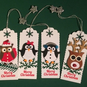 Karácsonyi könyvjelző, ajándékkísérő, bagoly, szarvas, pingvin, Karácsony, Advent, Mikulás, Naptár, képeslap, album, Karácsonyi, adventi apróságok, Könyvjelző, Ajándékkísérő, képeslap, Papírművészet, Az ár a 4 db-os szettre vonatkozik. A zsinór úgy van kiképezve, hogy könyvjelzőként is és ajándékkí..., Meska