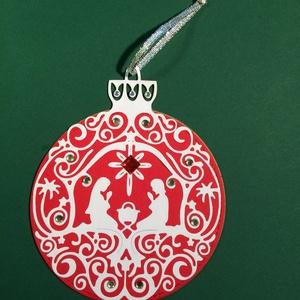 karácsonyfadísz, Advent, Karácsony, Mikulás, ajándékkísérő, Karácsony, Ünnepi dekoráció, Dekoráció, Otthon & lakás, Karácsonyfadísz, Papírművészet, Kétoldalas karácsonyfadíszt készítettem, a kör átmérője 10 cm, a dísz magassága 13 cm. Más színben i..., Meska