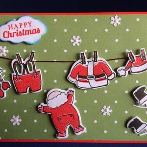 """Karácsonyi képeslap""""A Mikulás ruhája"""", Mikulás, Advent, Karácsony, tél, hó, hópehely, Télapó, Naptár, képeslap, album, Otthon & lakás, Képeslap, levélpapír, Karácsony, Ünnepi dekoráció, Dekoráció, Ajándékkísérő, Papírművészet, Kézi nyomdával és vágósablonok segítségével készítettem ezt az egyedi képeslapot. Mérete: 10,5cm x 1..., Meska"""