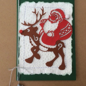 Karácsonyi képeslap,Mikulás, rénszarvas, Advent, Karácsony, Mikulás, ajándékkísérő, Karácsonyi képeslap, Karácsony & Mikulás, Otthon & Lakás, Papírművészet, Fogadjátok szeretettel egyedi kézzel készített karácsonyi képeslapomat!\nVegyes technikával készített..., Meska